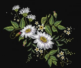 Creative embroidery flowers vector material 03