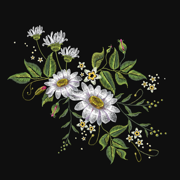 Creative Embroidery Flowers Vector Material 03 Free Download