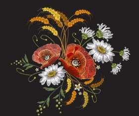 Creative embroidery flowers vector material 05
