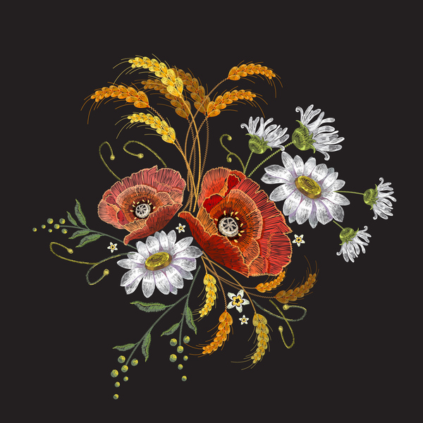 Creative Embroidery Flowers Vector Material 05 Free Download