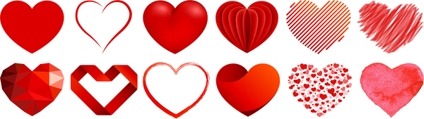 Creative red heart vector set