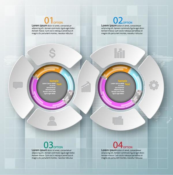 Creative round infographic modern design vector 04