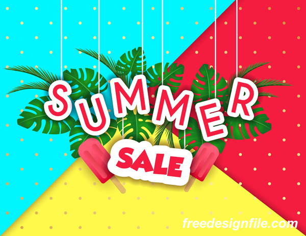 Creative summer sale poster template vectors 04