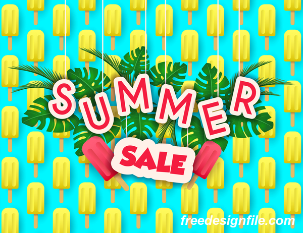 Creative summer sale poster template vectors 05