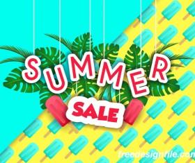 Creative summer sale poster template vectors 06