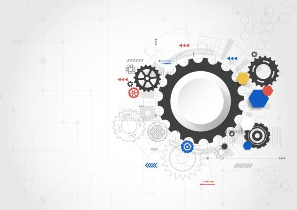 Creative technology background with gear vectors 02