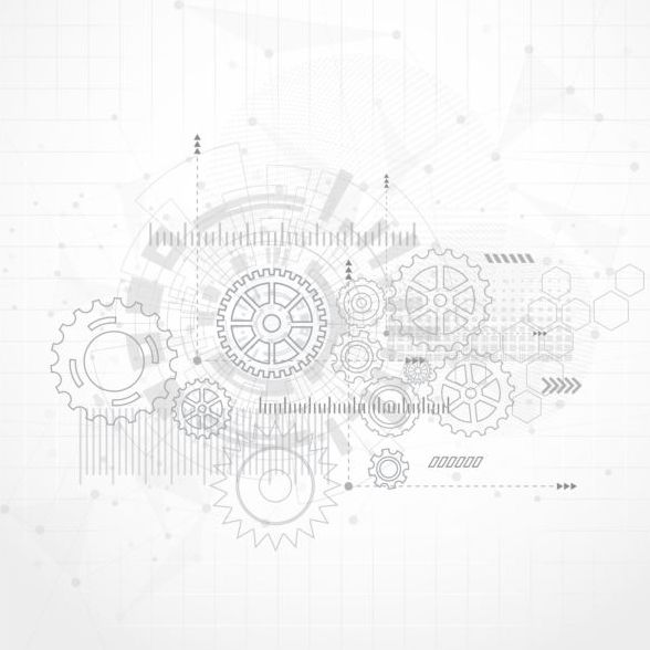 Creative technology background with gear vectors 10