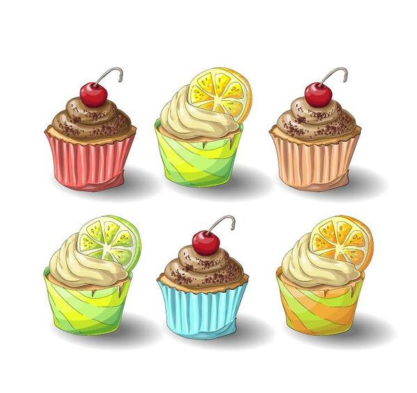 Cupcake design vector set 01