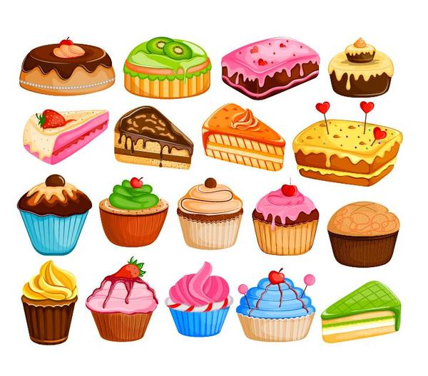 Cupcake design vector set 03