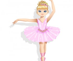 Cute ballerina in a pink tutu vector 01