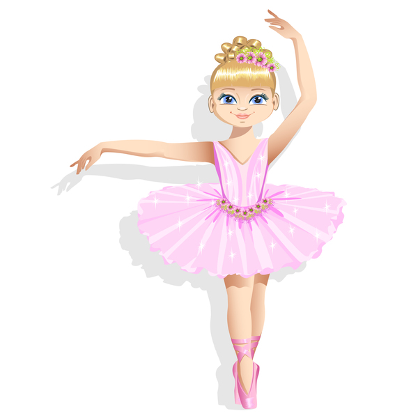 Cute ballerina in a pink tutu vector 01 - Vector Cartoon ...