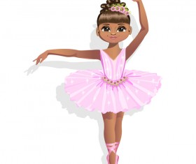 Cute ballerina in a pink tutu vector 02