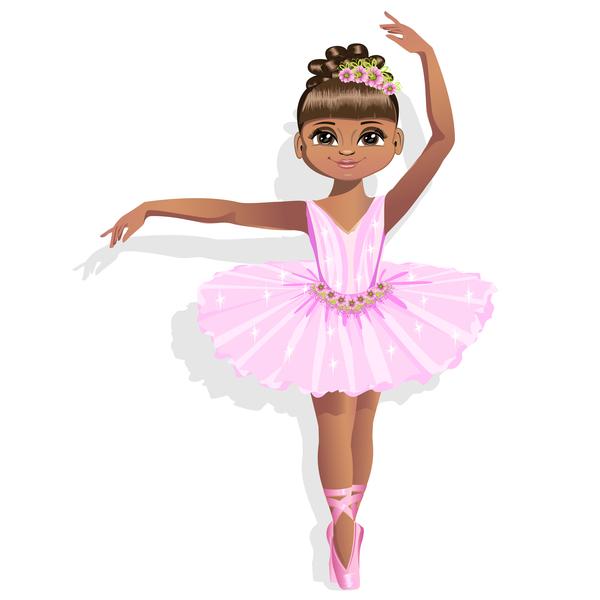 Cute ballerina in a pink tutu vector 02 free download