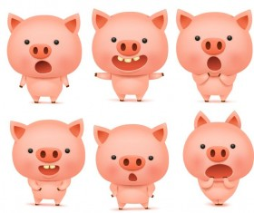 Cute pink pigs vector set 01