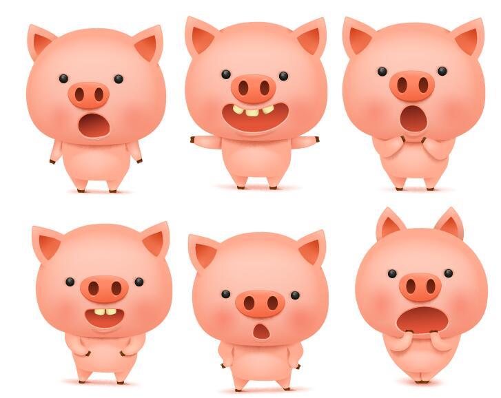 Cute pink pigs vector set 01
