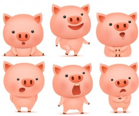 Cute pink pigs vector set 02