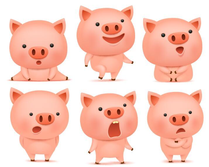 Cute pink pigs vector set 02