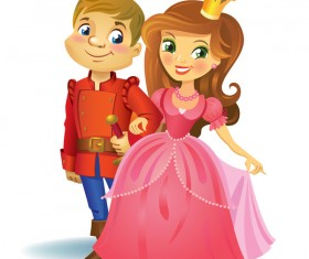 Cute prince and princess vector material