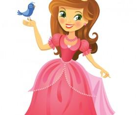 Cute princess with bird vector