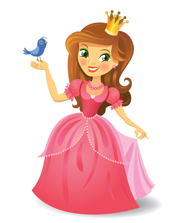 Cute princess with bird vector
