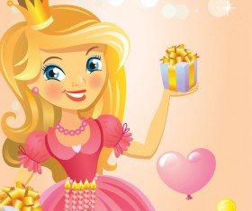 Cute princess with happy birthday backgroud vector 01