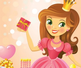 Cute princess with happy birthday backgroud vector 02
