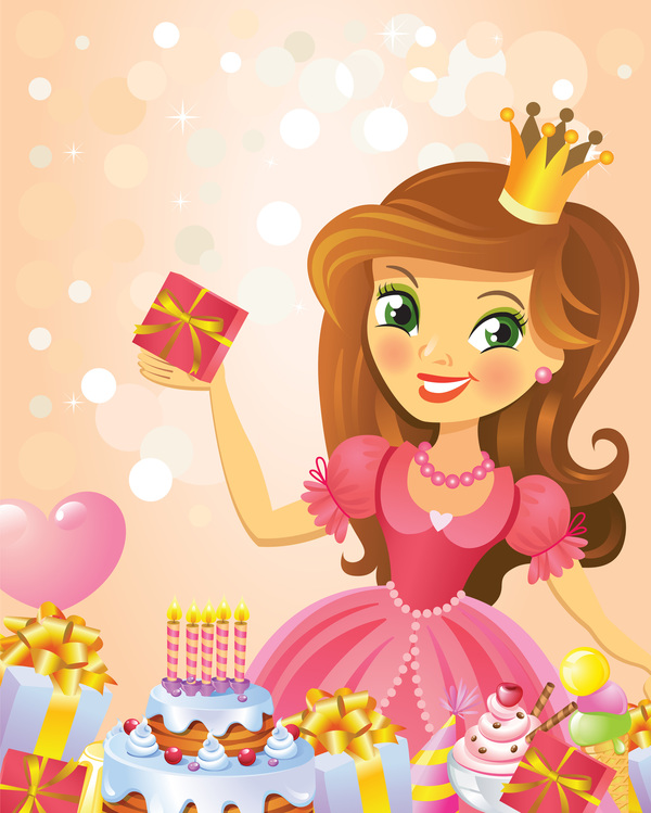 Cute Princess With Happy Birthday Backgroud Vector 02 Free