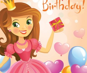Cute princess with happy birthday backgroud vector 04
