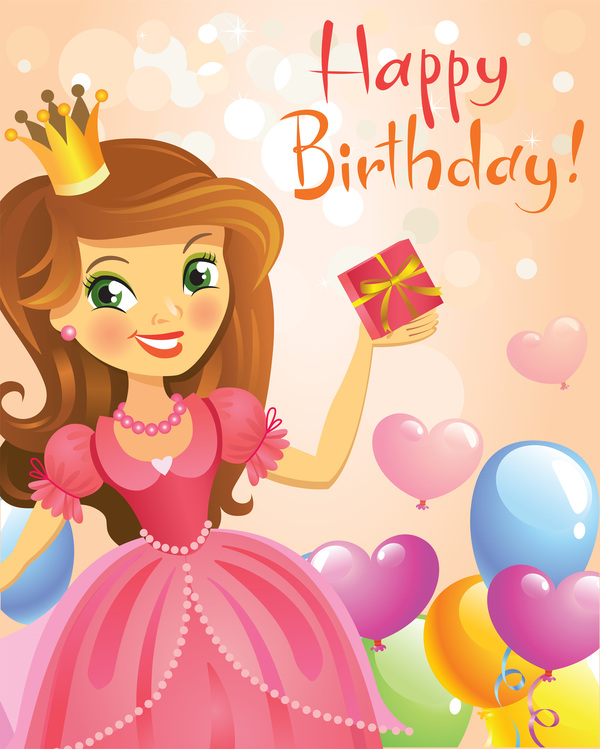 Cute Princess With Happy Birthday Backgroud Vector 04 Free