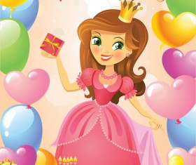 Cute princess with happy birthday backgroud vector 05