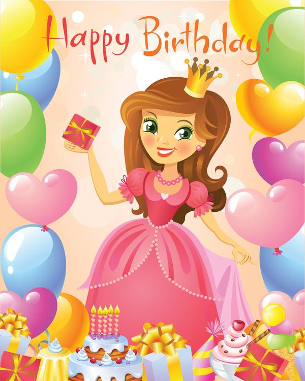 Happy Birthday, Princess, Greeting Card. Free Download