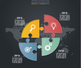 Dark infographic template with puzzle vector 02