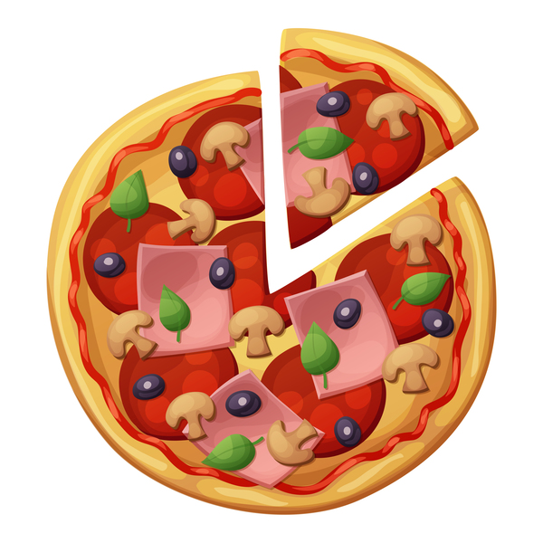 Delicious pizza design vector material 01