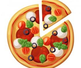 Delicious pizza design vector material 02