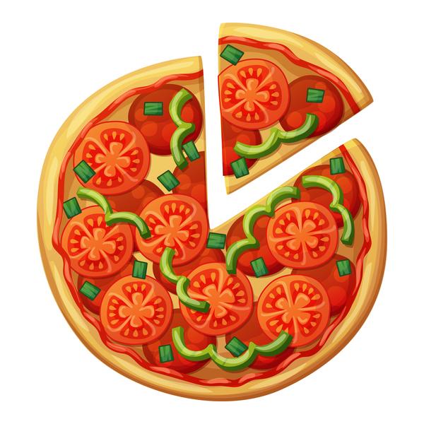 Delicious pizza design vector material 03