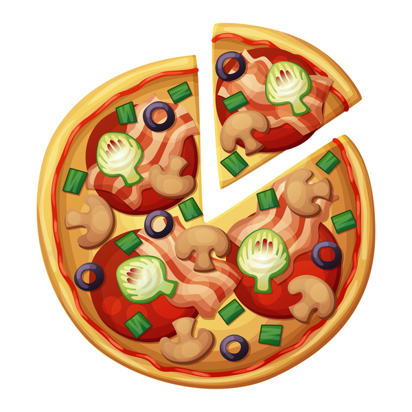 Delicious pizza design vector material 05