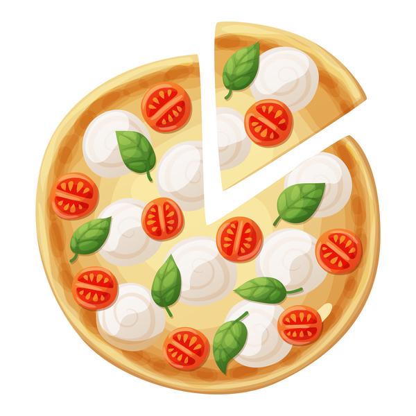 Delicious pizza design vector material 06