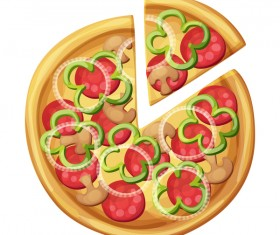 Delicious pizza design vector material 07