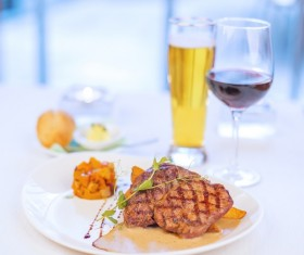 Delicious steak with red wine Stock Photo