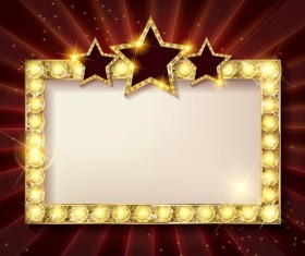 Diamond frame with red star vector material 02