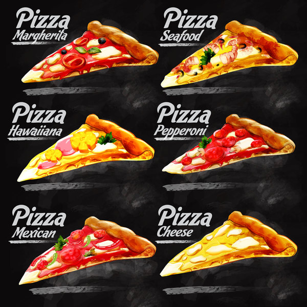 Different pizza illustration vector