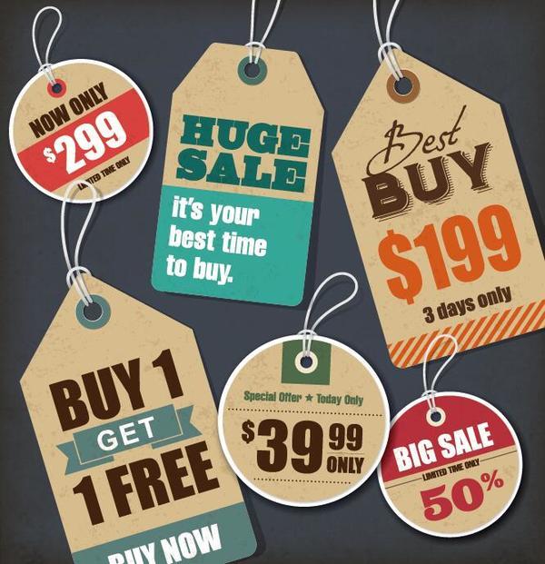 Discount sale tag retro styles vector 01
