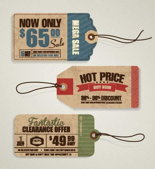 Discount sale tag retro styles vector 05