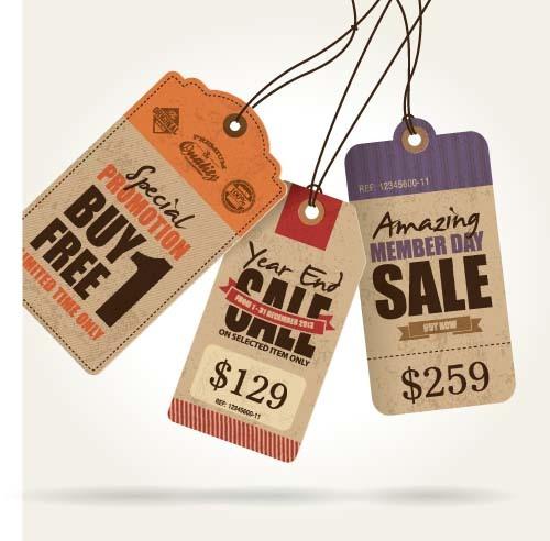 Discount sale tag retro styles vector 06