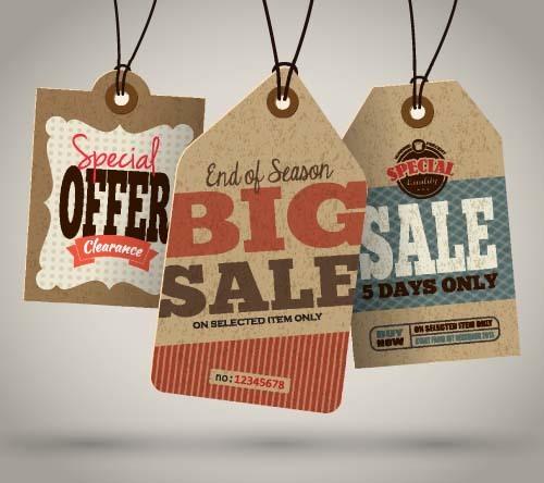 Discount sale tag retro styles vector 07