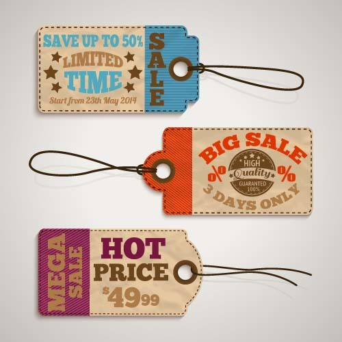 Discount sale tag retro styles vector 09