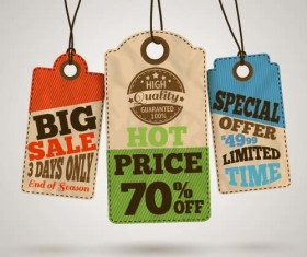 Discount sale tag retro styles vector 10