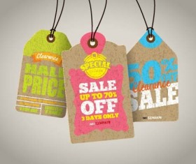 Discount sale tag retro styles vector 12