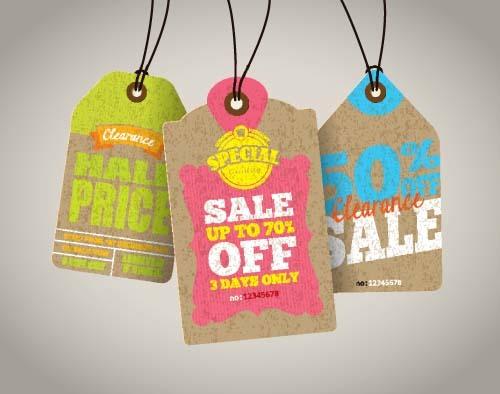 Discount sale tag retro styles vector 12