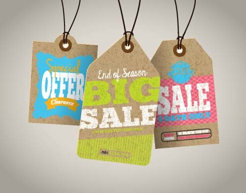 Discount sale tag retro styles vector 13